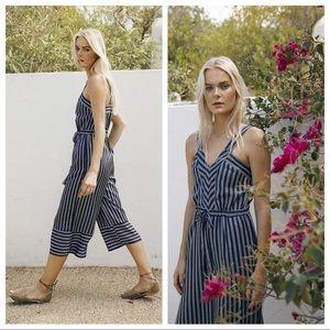 Greylin Amber Striped Culotte Jumpsuit